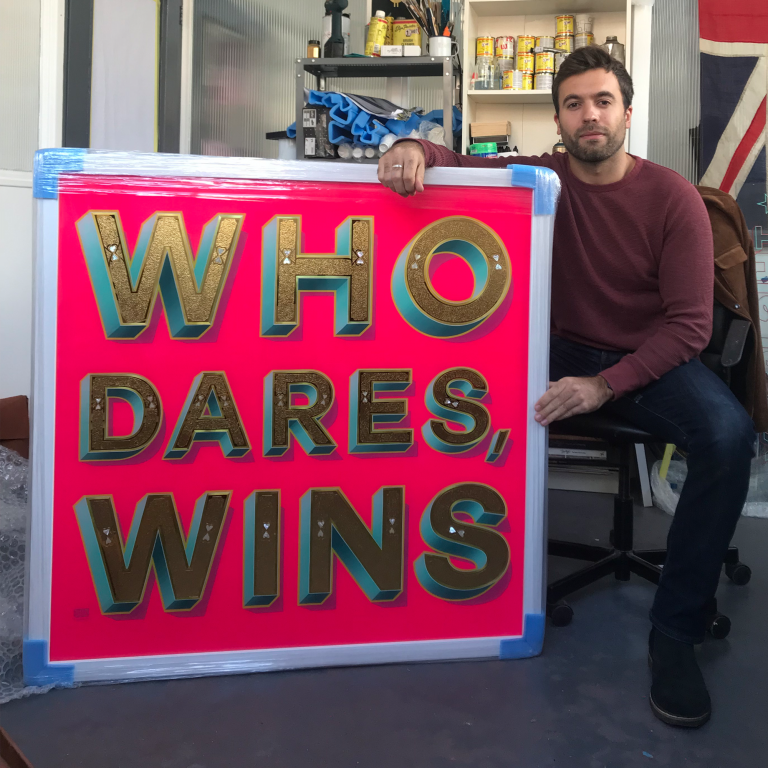 Eddy Bennet. Sign writer. Gold leaf sign writing London
